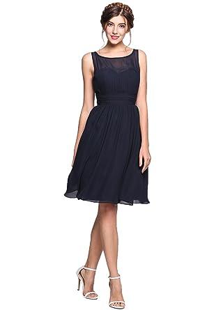 cb3e62541244 Meharbour Short Chiffon Bridesmaid Dress,Chiffon Short Bridesmaid Dresses  Blue Sleeveless Pleated Little Cocktail Party