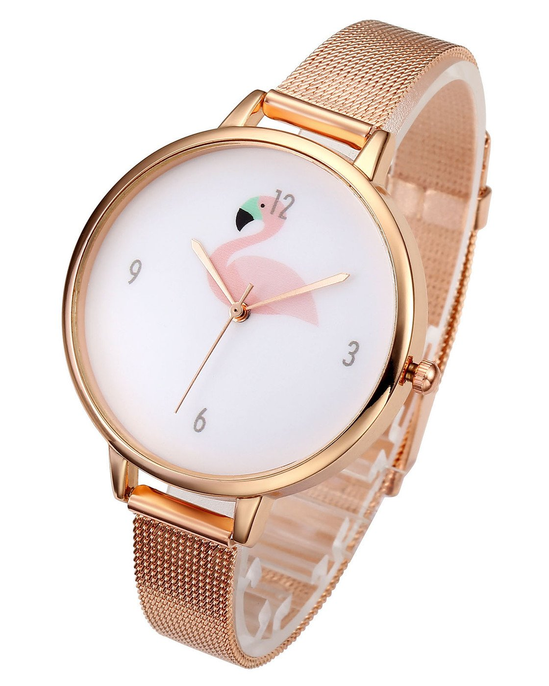 Top Plaza Womens Fashion Rose Gold Tone Analog Quartz Bracelet Wrist Watch, Cute Pink Flamingo Pattern, Mesh Metal Thin Band