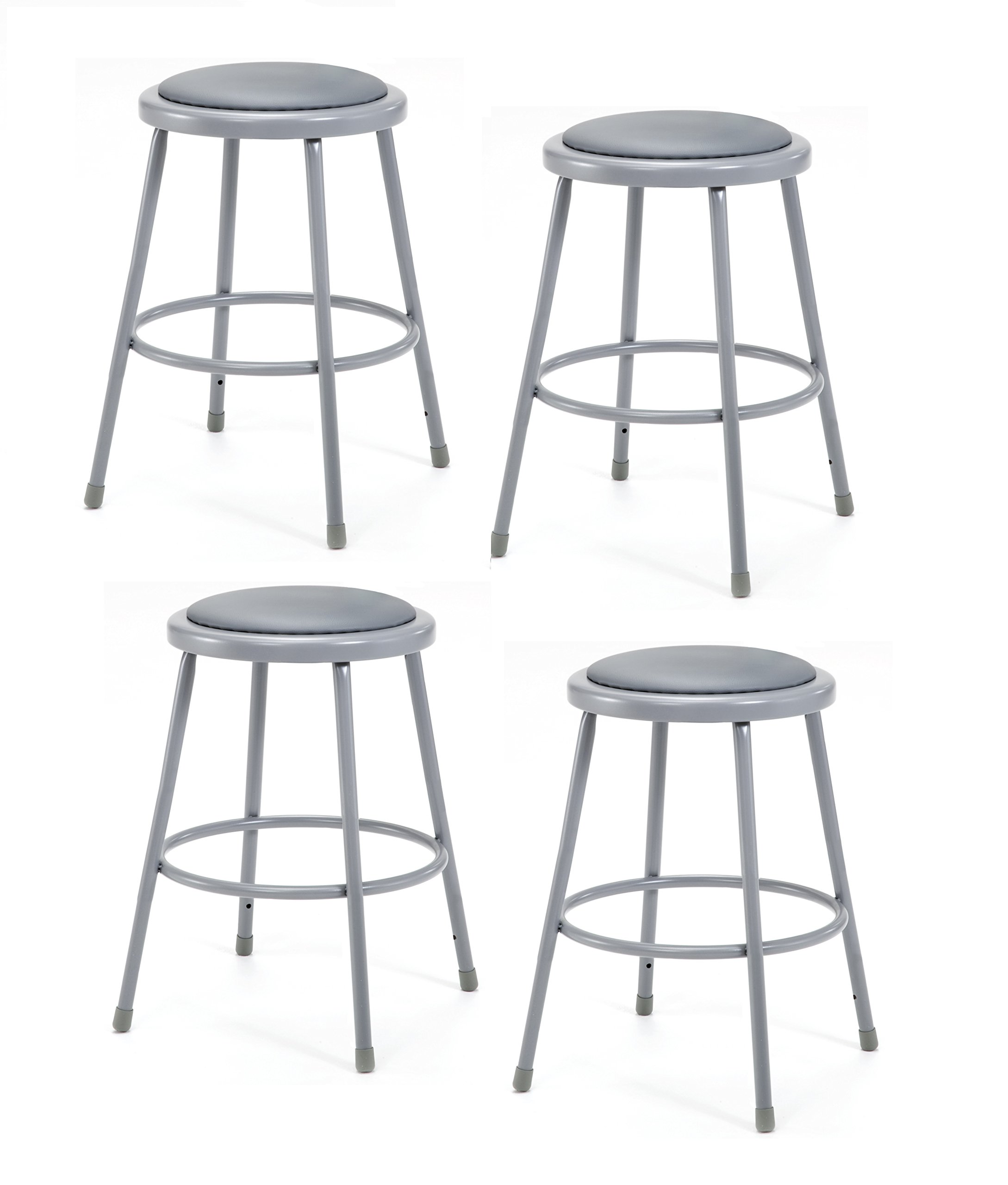National Public Seating 6424-CN Steel Stool with 24'' Vinyl Upholstered Seat, Grey (Pack of 4) by National Public Seating