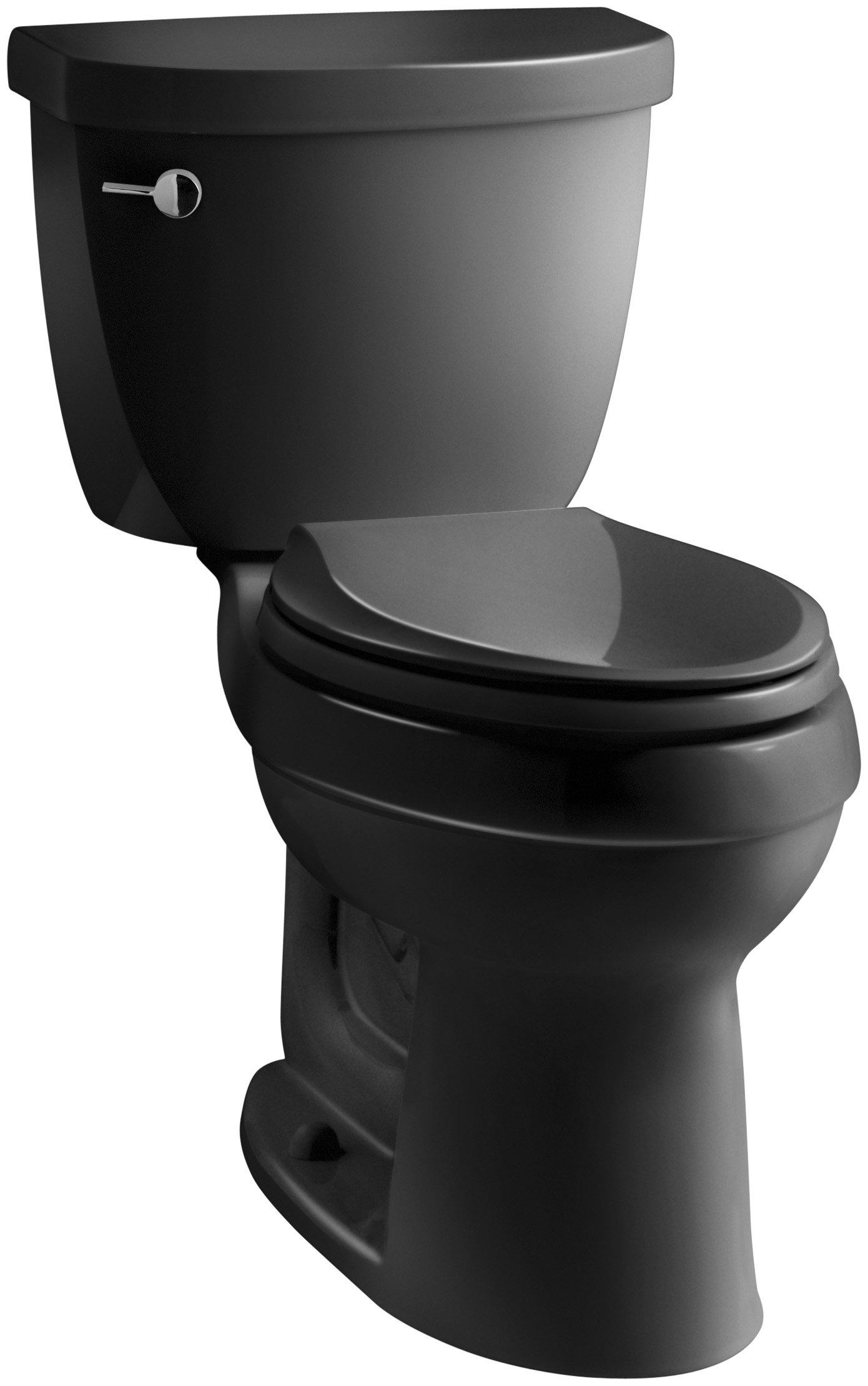 KOHLER K-3609-7 Cimarron Comfort Height Elongated 1.28 gpf Toilet with AquaPiston Technology, Less Seat, Black Black by Kohler