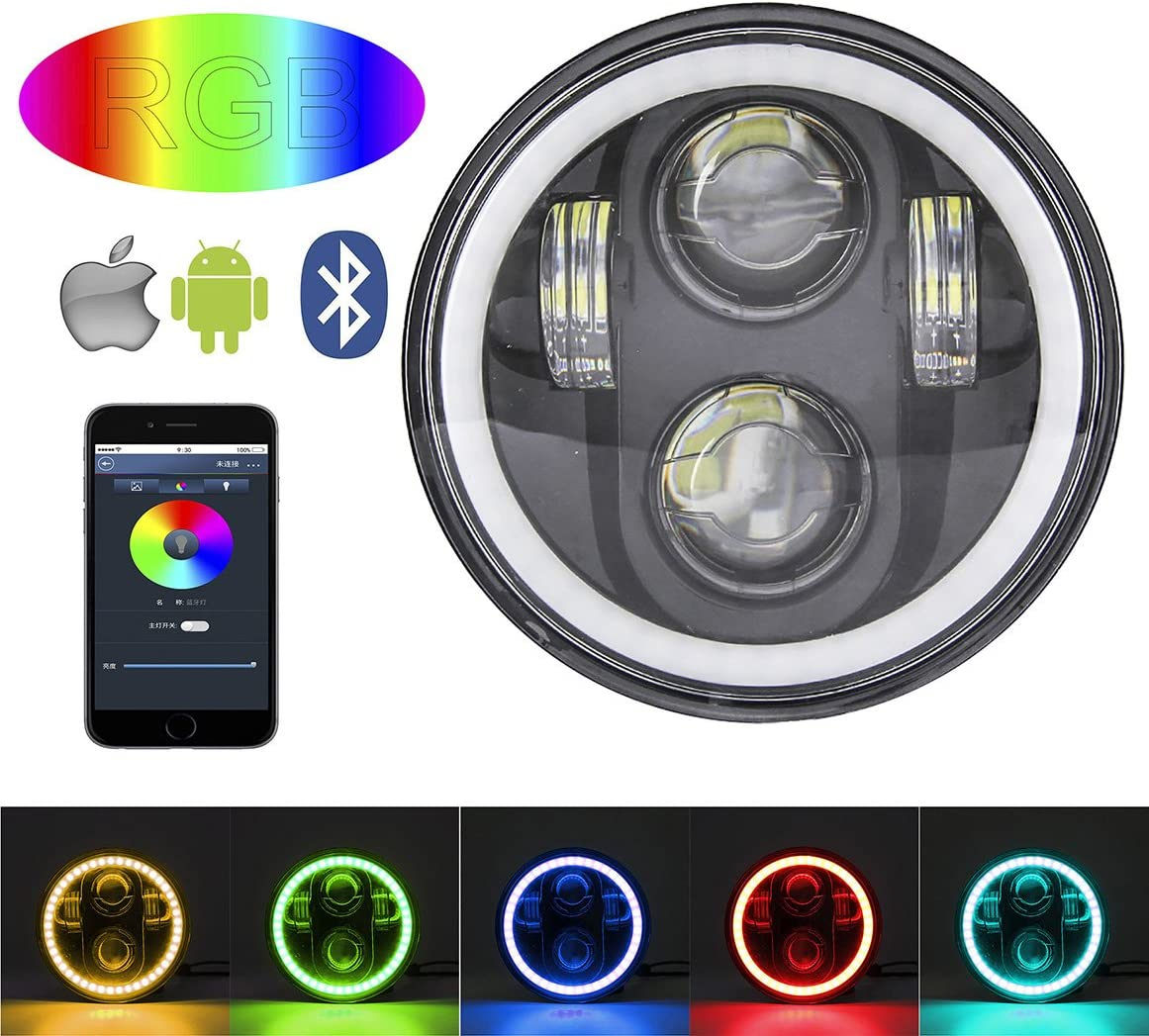 Black SKUNTUGUANG 5.75 inch LED headlights RGB MultiColor Halo Ring Phone Bluetooth Remote Control Music mode LED Headlamp Driving Light