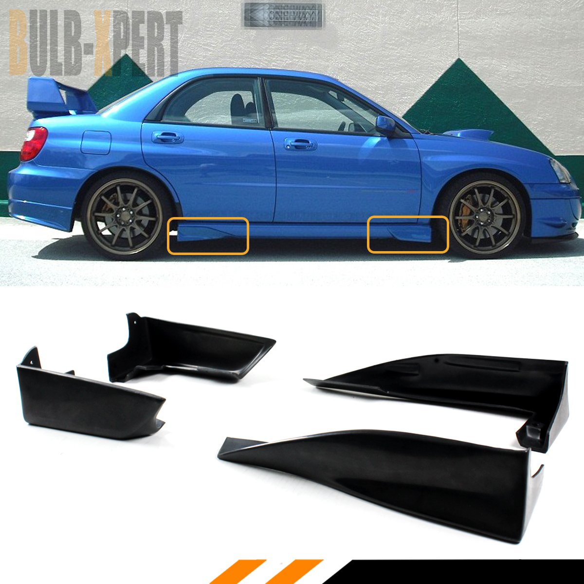 FOR 2002-2007 IMPREZA WRX STI GD FRONT+REAR SIDE SKIRT AERO GUARD STRAKE SPATS COMBO Cuztom_Tuning