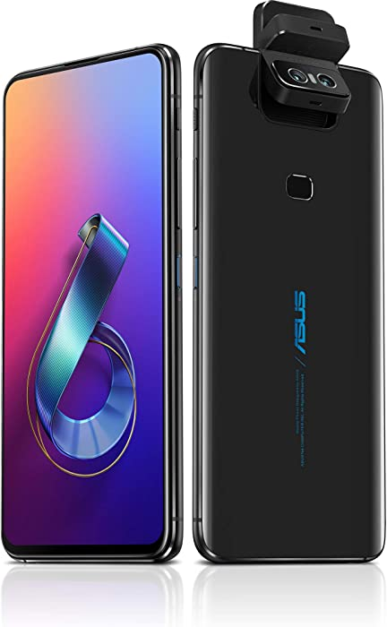 "ASUS ZenFone 6 (ZS630KL-S855-6G64G-BK) - 6.4"" FHD+ 2340x1080 All-Screen NanoEdge Display - 48MP Flip Camera – 6GB RAM - 64GB Storage - LTE Unlocked Dual SIM Cell Phone - US Warranty - Black"