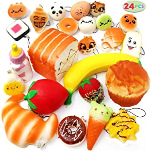 Squishies 24 Pieces Slow Rising Kawaii Scented Squishy Charms Foods - Jumbo Medium Mini Soft Panda Doughnut Buns Cake Bread Muffin Phone Charm Key Chain Straps Easter Basket Stuffers Fillers