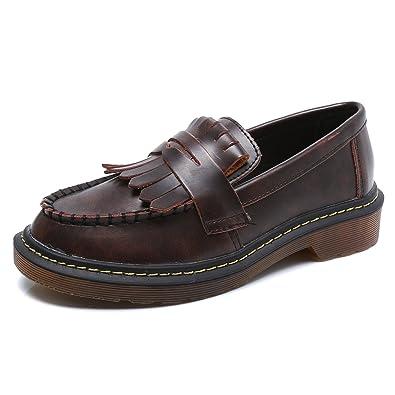 Smilun Damen Rund Toe Schuhe Damenschuhe Weiß PU Leder Optik EU36 dDbRhQ