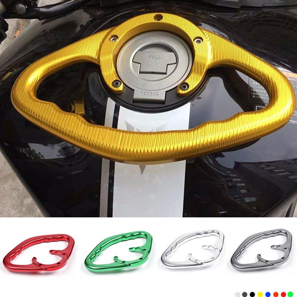EasyGO Motorcycle CNC Passenger Handgrips Hand Grip Tank Grab Bar Handles Armrest for Yamaha MT09 R1 R6 Gold