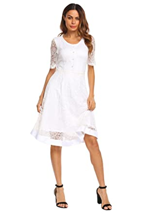 9e8c5bd3 bubblebelle Women Casual Round Neck Short Sleeve Lace Floral Button Front  Lace Dress White Small