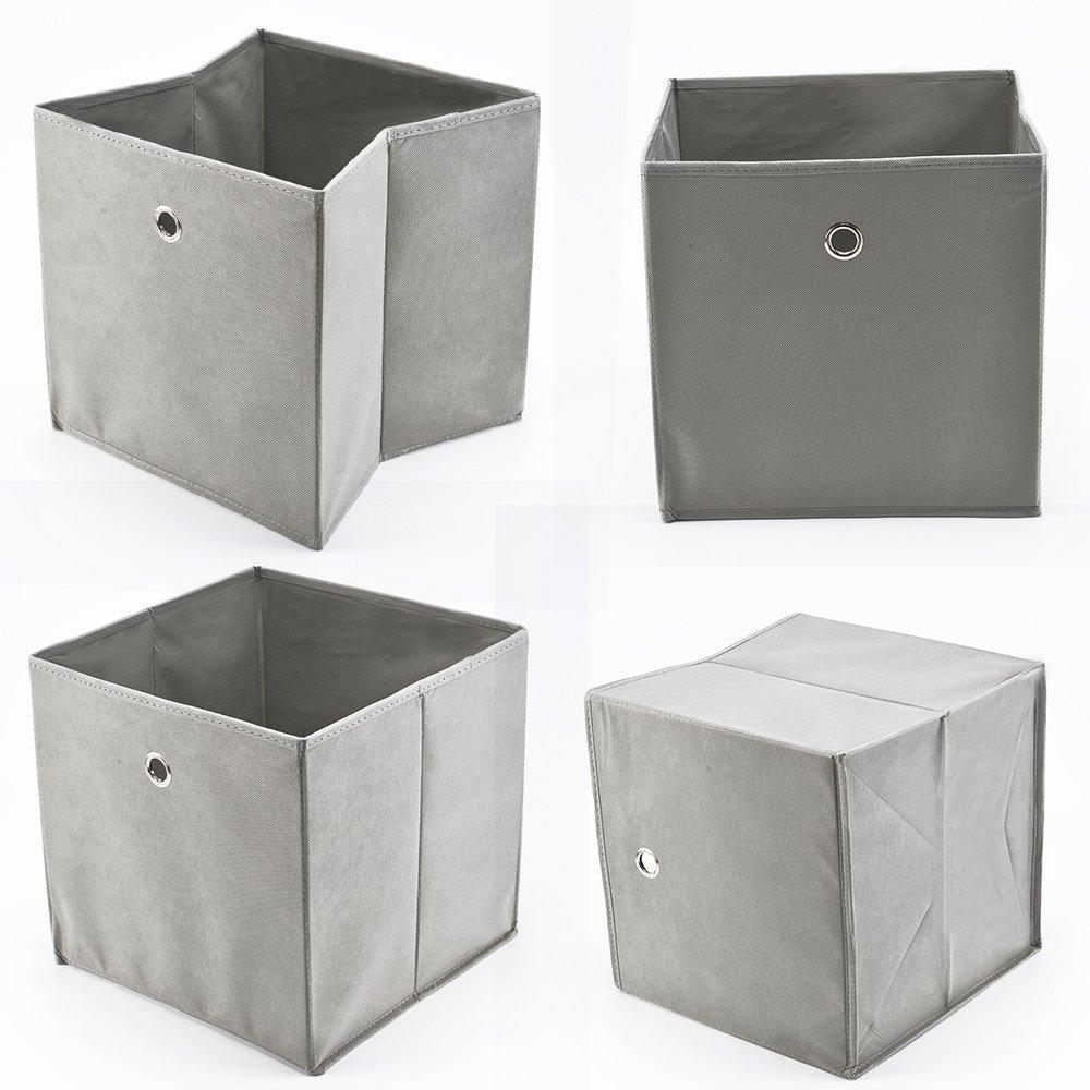 MultiWare 4 Stück Faltbox Faltbare Aufbewahrungsbox Stoff Faltkiste Grau mit Fingerloch 32 x 32 x 32 cm für Raumteiler oder Regale eom