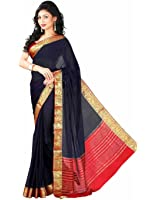 Roopkala Silks & Sarees Women's Chiffon With Blouse Piece (Ds-232_Navy Blue)