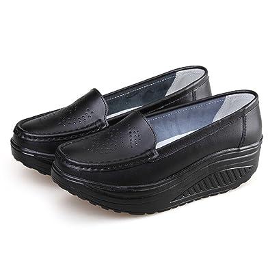 Amazon.com: feilongzaitianba Verano Piel Auténtica zapatos ...
