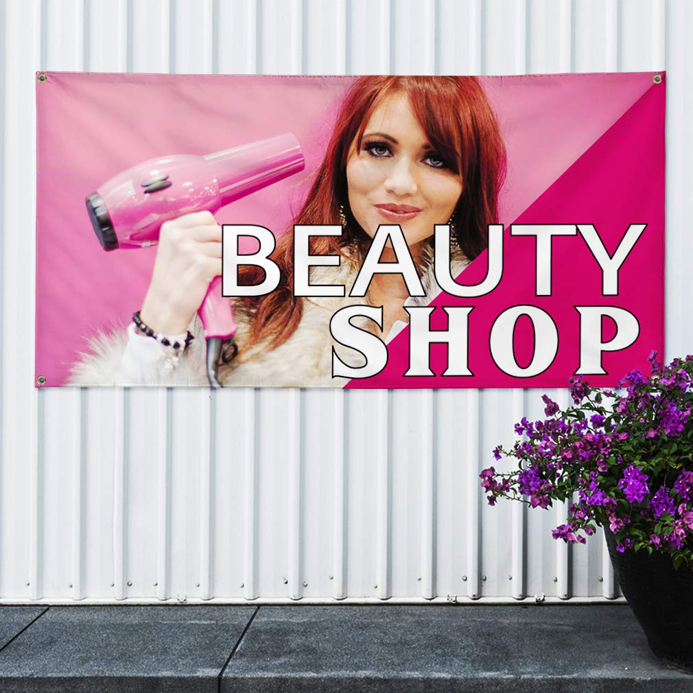 Multiple Sizes Available 8 Grommets One Banner 44inx110in Vinyl Banner Sign Beauty Shop #1 Business Beauty Shop Marketing Advertising Pink