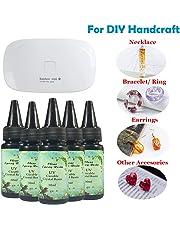 5 Piezas 30ML Crystal Epoxy Resina UV Pegamento Nail Art Tools, 1 Piezas Mini UV LED Lamp para DIY Inicio Profesional Joyería Artesanal Pendientes Collar Nail Art Accessories