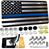 Aootf American Flag License Plate -Matte Black Thin Blue Line Police Aluminum Composite Front Plate,Car Decoration…