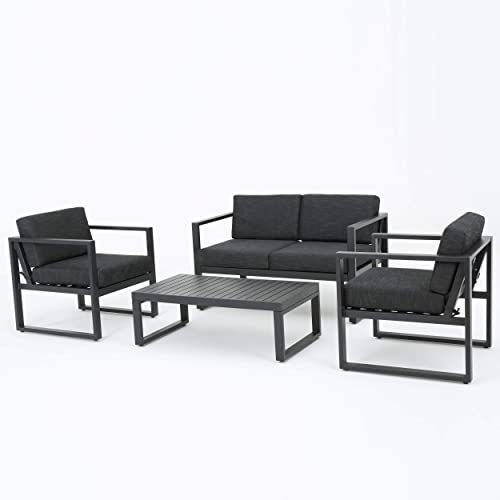 GDF Studio Nealie Patio Furniture 4 Piece Outdoor Aluminum Chat Set Dark Grey