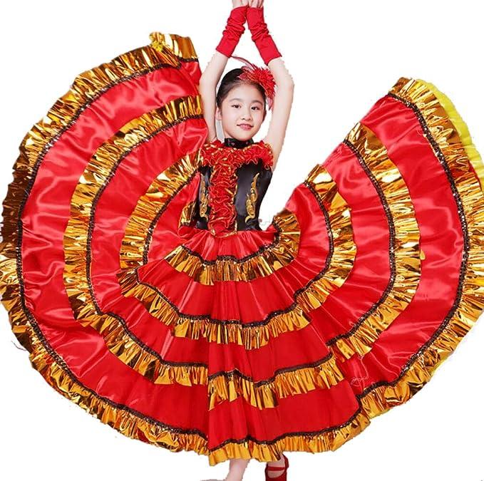 ZYLL Frauen Flamenco Kleid Bauchtanz Chiffon Rock Gro/ße Modern Dance Chorkost/üme