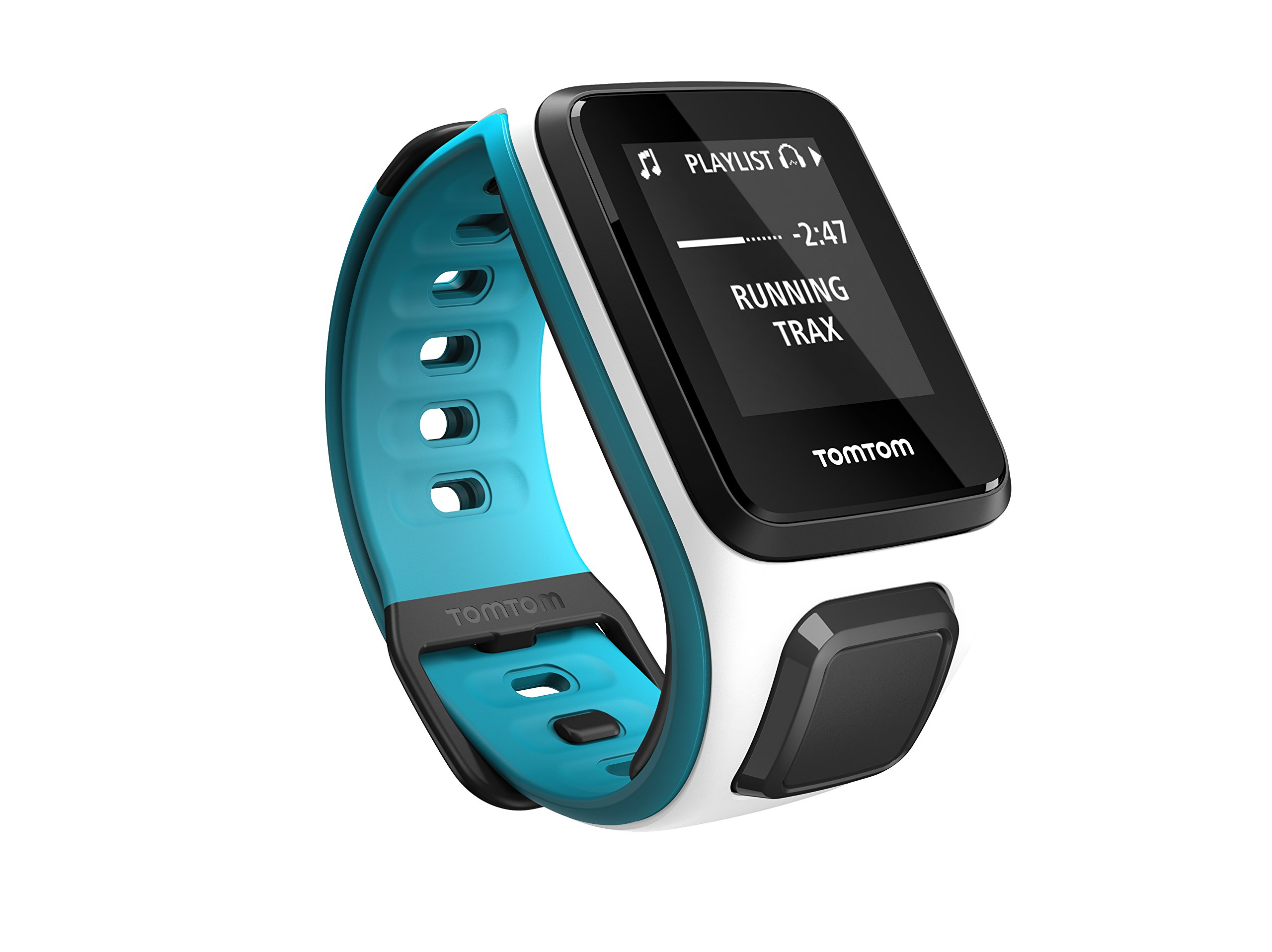 TomTom Spark Cardio + Music, GPS Fitness Watch + Heart Rate Monitor + 3GB Music Storage (Small, White/ Scuba Blue)