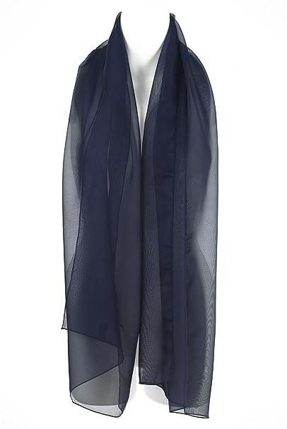 check-out 4485f 231ef Sciarpa Elegante Blu Navy Chiffon, Scialle, Coprispalle