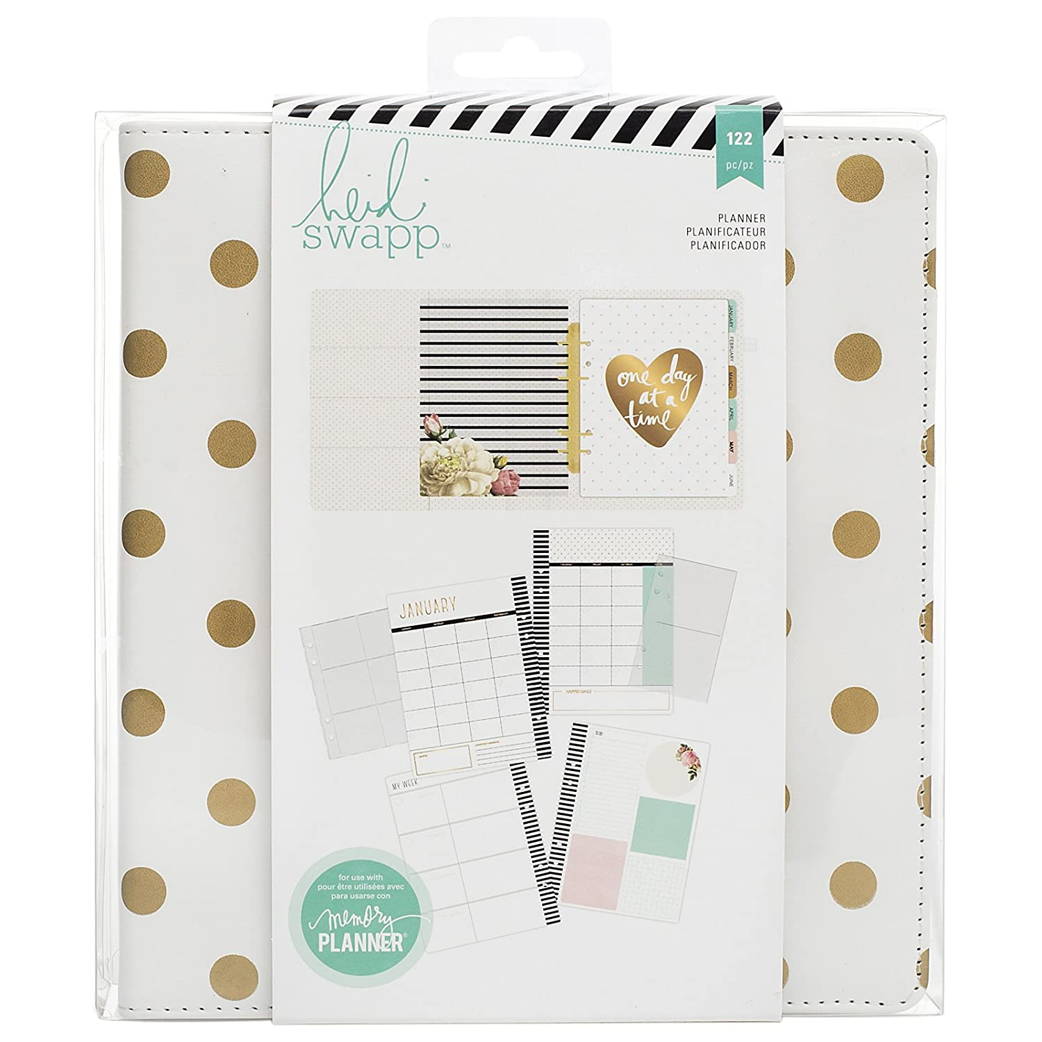 American Crafts Heidi Swapp Large Memory Planner Gold Foil Dots, Acrylic, Multicolour 312597