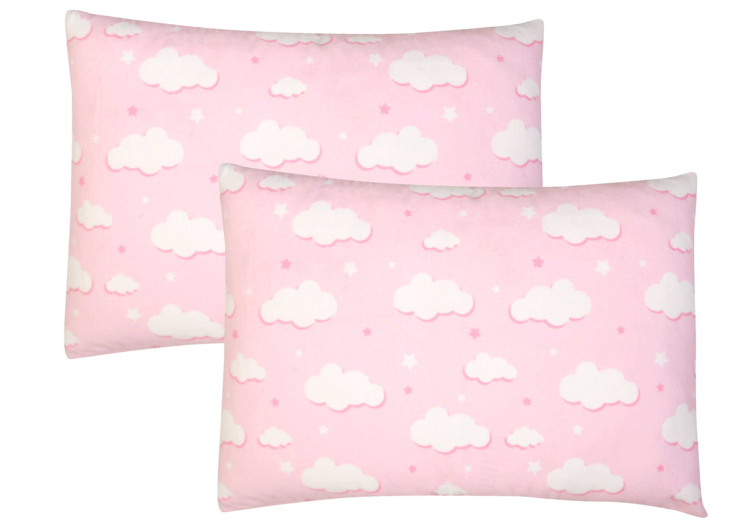 Toddler Pillowcase, 2 pack- Premium Cotton Flannel, SOFT & BREATHABLE, toddler pillowcase 13x18, Pink Clouds