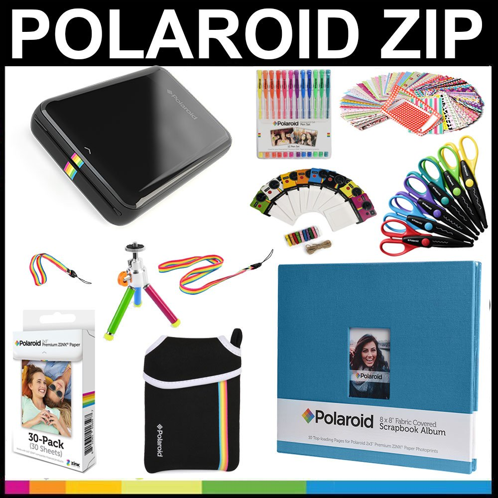 Polaroid ZIP Mobile Printer Gift Bundle + ZINK Paper (30 Sheets) + 8x8'' Cloth Scrapbook + Pouch + 6 Edged Scissors + 100 Sticker Border Frames + Color Gel Pens + Hanging Frames + Accessories