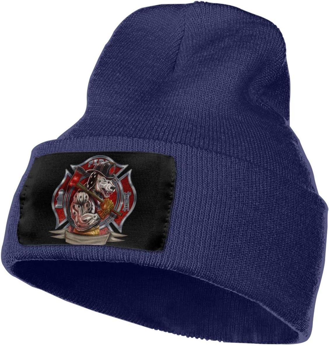 Fire Dept Maltese Cross Muscle Dalmation Dog Firefighter Men/&Women Warm Winter Knit Plain Beanie Hat Skull Cap Acrylic Knit Cuff Hat