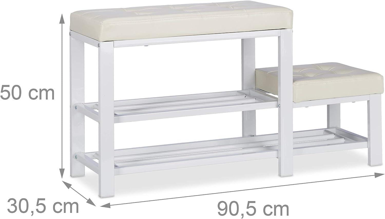 Relaxdays Banc d'entrée avec Tabouret Adulte & Enfant, Coussin rembourré confortable, 2 Niveaux, 50 x 90 x 30 cm, blanc