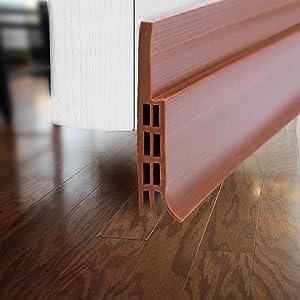 Door Draft Stopper for Exterior or Interior Doors, DBS001 Door Weather Stripping with 1mm Thick Strong Adhesive Waterproof Soundproof Door Bottom Seal (Brown)