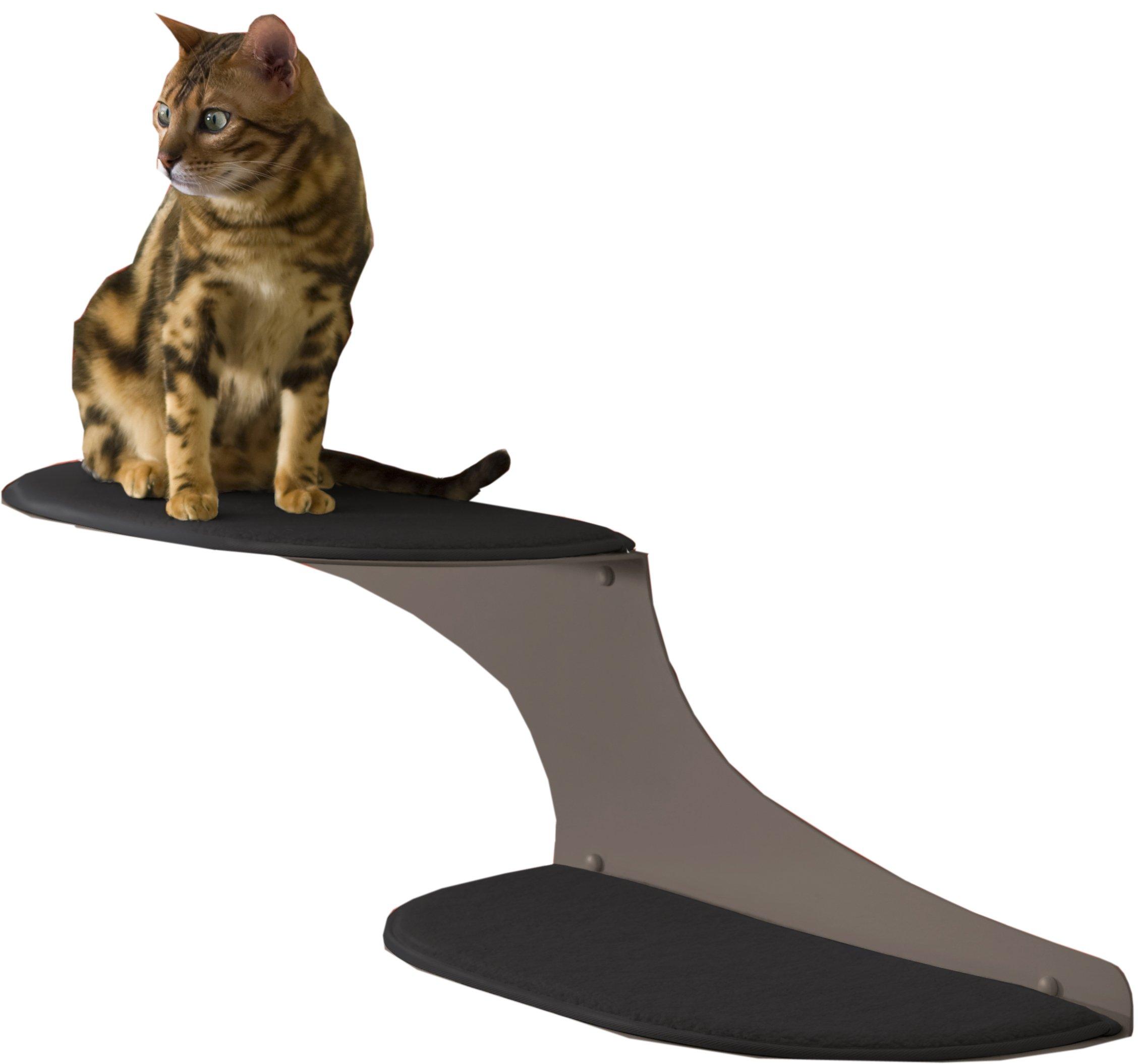The Refined Feline Cat Cloud Cat Shelves in Titanium, Left Facing