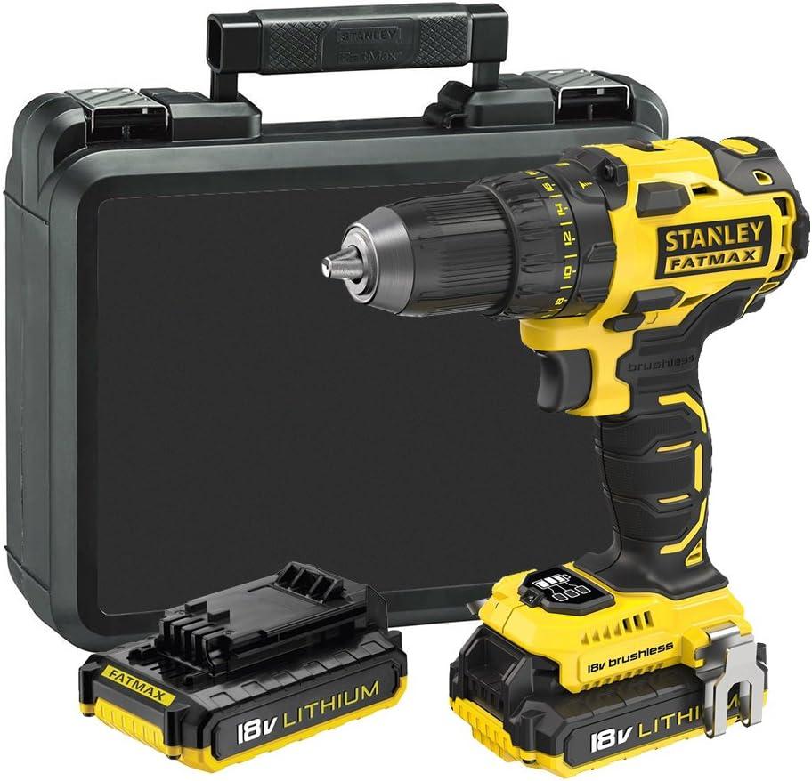 STANLEY FATMAX FMC607D2-QW - Taladro atornillador Brushless 18V con 2 baterías de litio 2.0Ah y maletín