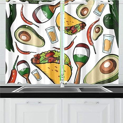 Vnaskl Pyramid Musical Instrument Gourmet Design Retro Design Art Ethnic Kitchen Curtains Window Curtain Tiers For Café Bath Laundry Living Room Bedroom 26 X 39 Inch 2 Pieces Home Kitchen