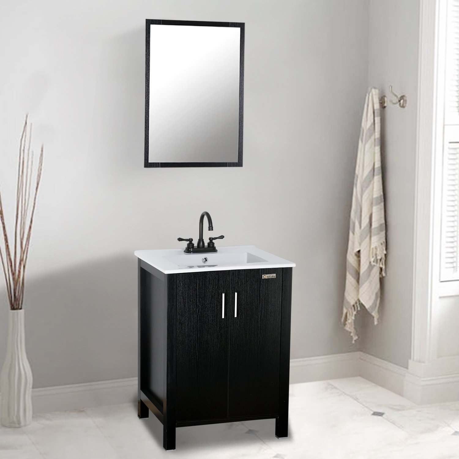Eclife 24'' Modern Bathroom Vanity and Sink Combo Stand Cabinet and White Ceramic Vessel Sink Top & CUPC&NSF&AB1953 Solid Brass Faucet & Pop Up Drain DR03B06