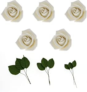 Global Sugar Art Peace Rose White Sugar Cake Flowers 5 Count with Leaves by Chef Alan Tetreault