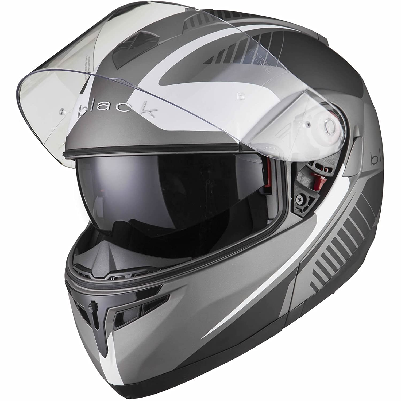 BLACK Optimus Casco da Motociclismo con Visiera alzabile e occhiale da Sole Integrato