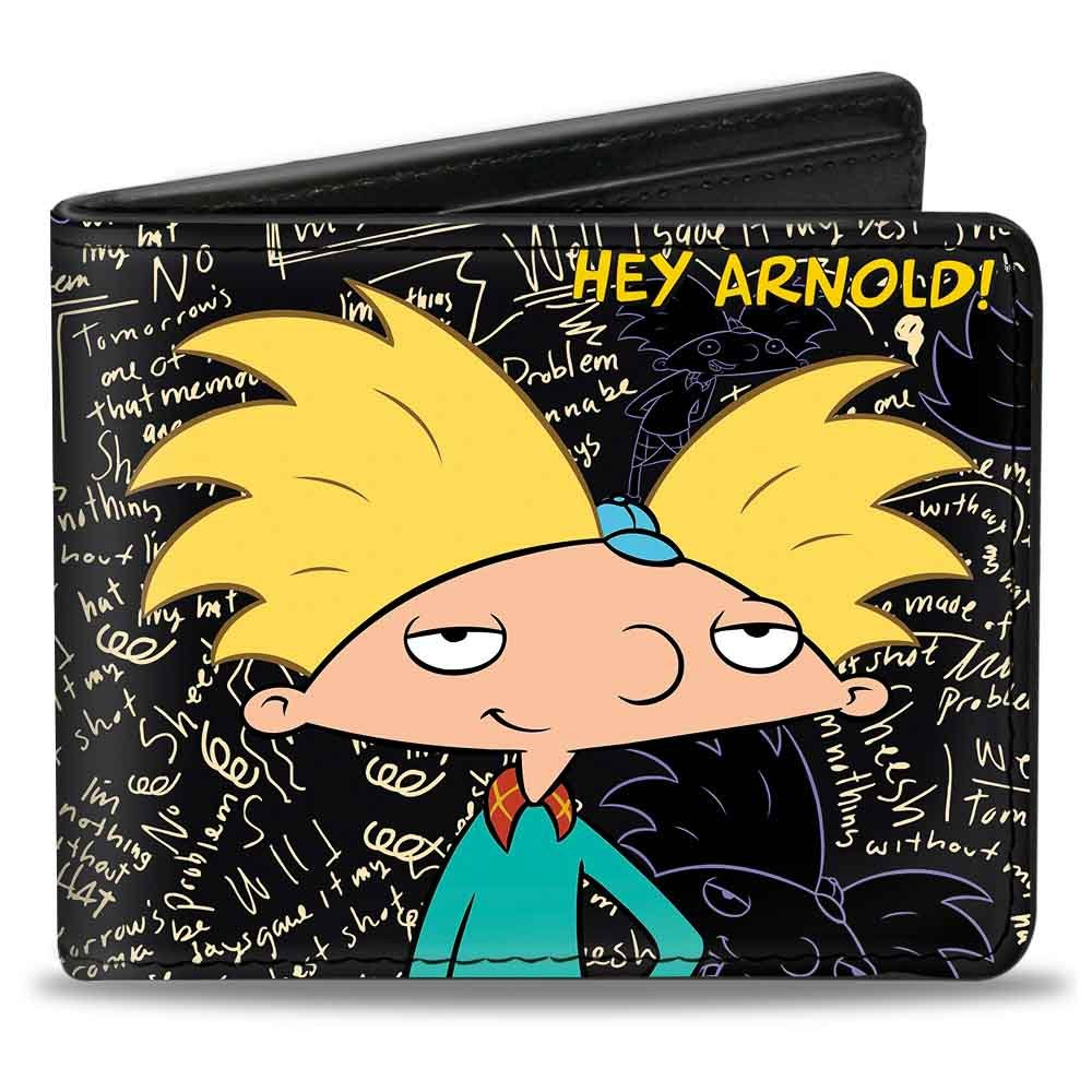 Amazon.com: Bi-Fold Wallet - HEY ARNOLD!/Arnold Pose/Chalkboard Scribbles: Clothing