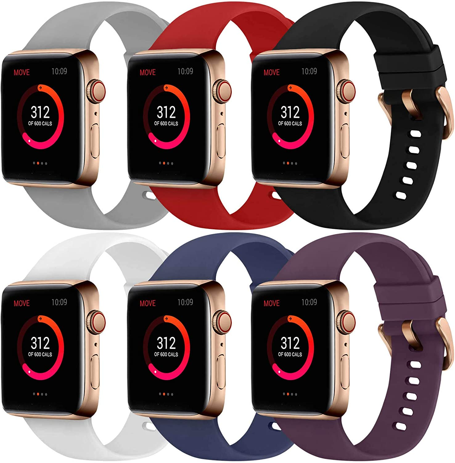 Abincee 6PCS Bands Compatible with Apple Watch 38mm 40mm 42mm 44mm with Rose Gold Buckle,replacement band for iWatch Series 6/5/4/3/2/1 (Black/Gray/White/Midnight Blue/Red/Purple, 38mm/40mm)