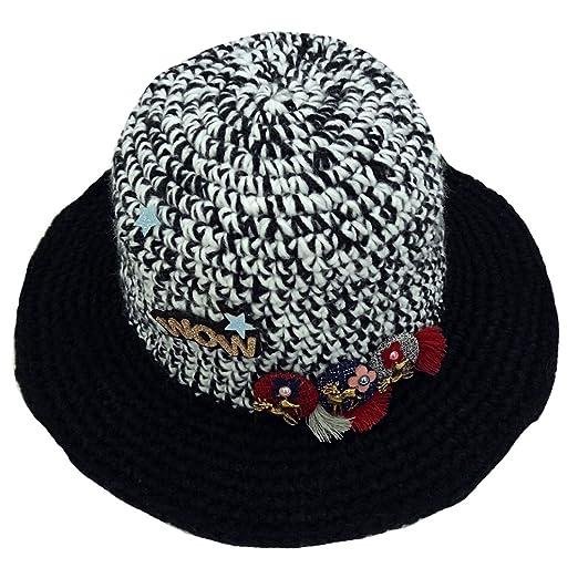 Monique Women Cute Cartoon Elk Woolen Yarn Knit Fedora Bowler Hat Autumn  Winter Spring Dome Warm 7b05bf819850