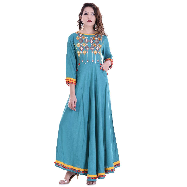 Chichi Indian Women Kurta Kurti 3/4 Sleeve Small Size Plain Round Anarkali Blue Top