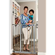 Regalo Easy Step Extra Tall Walk Thru Baby Gate, Bonus Kit, Includes 6-Inch Extension Kit, 4 Pack of Pressure Mount Kit and 4 Pack of Wall Mount Kit, Platnium