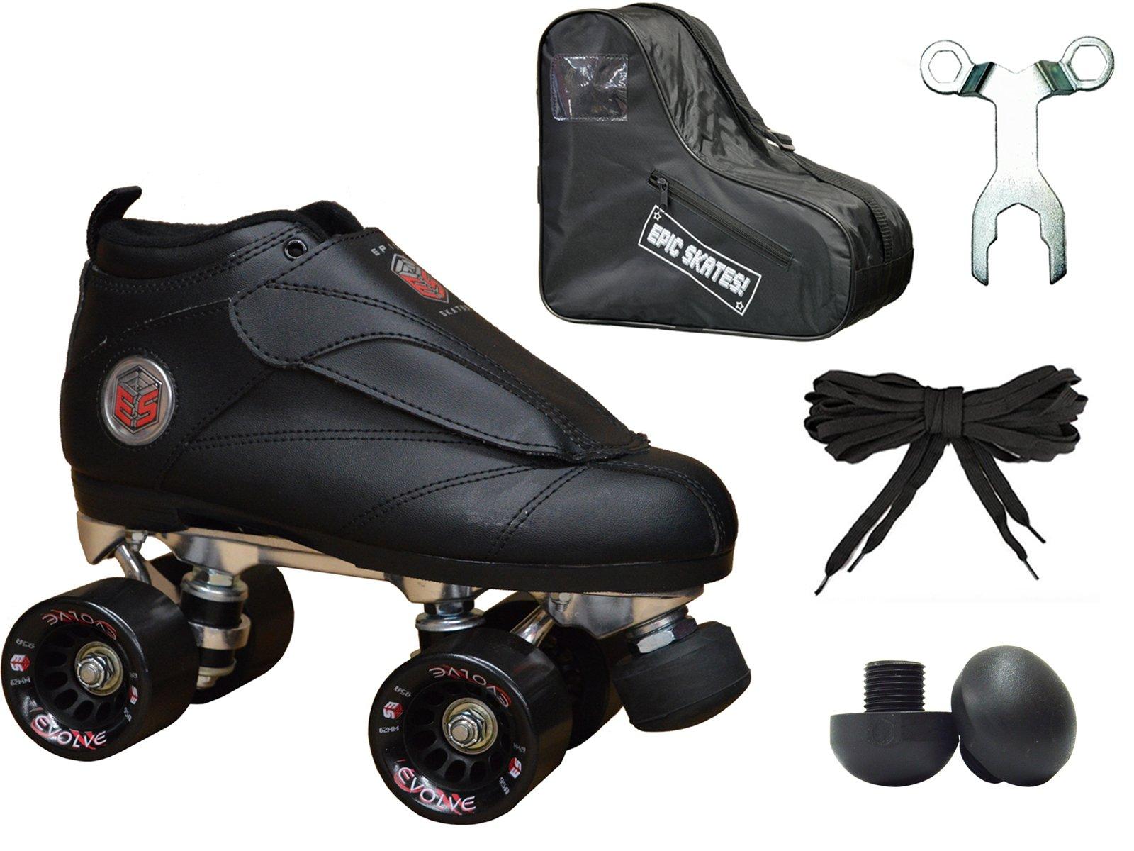 New! Epic Skates Black Evolution Quad Roller Jam Speed Skates & Bag Bundle! (Mens 11)