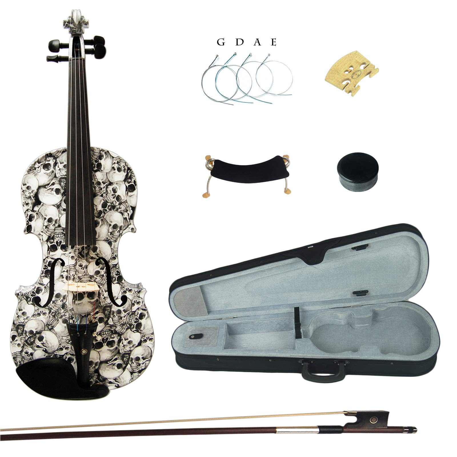 Kinglos 4/4 Black White Skull Colored Ebony Fitted Solid Wood Violin Kit with Case, Shoulder Rest, Bow, Rosin, Extra Bridge and Strings Full Size (HB1312) by Kinglos