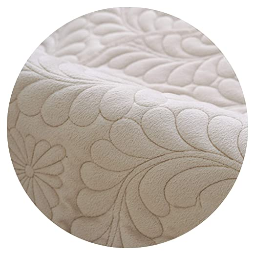Amazon.com: Beige Grey Floral Quilted Plush Sofa Cover ...