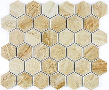Carrelage mosaïque en céramique hexagonale Travertin Beige ...