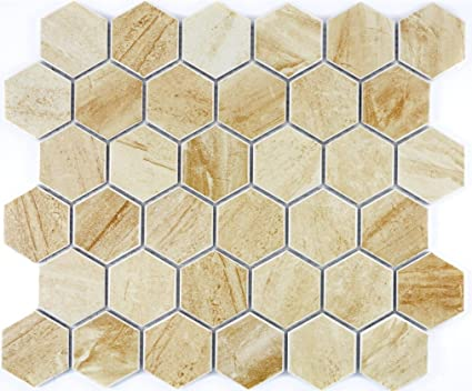 Carrelage mosaïque en céramique hexagonale Travertin Beige ...