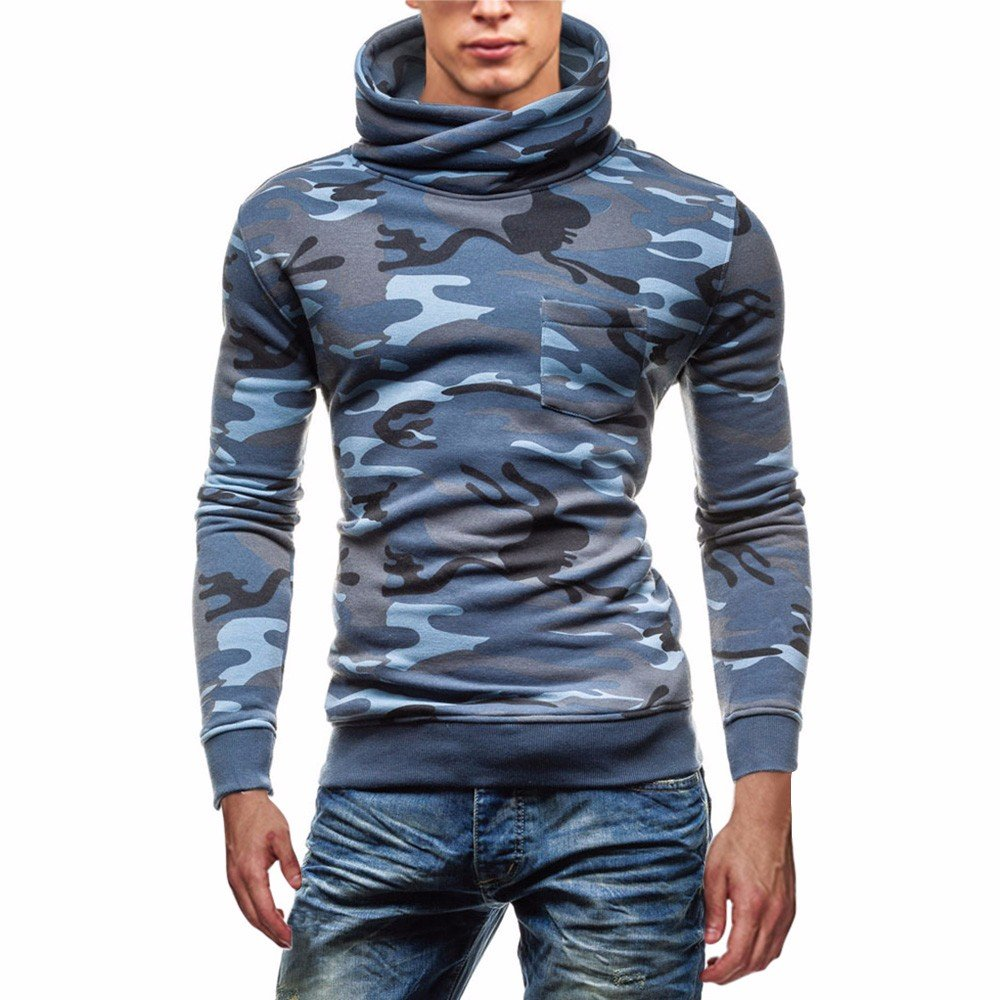 Men Digital Printing Camouflage Coat Jacket, G-Real Fashion Mens Turtleneck Swearshirt Long Sleeve Outwear by G-real Men Outfits