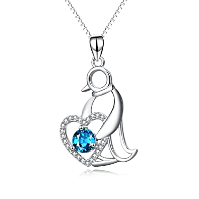 Yfn penguin necklace sterling silver blue cubic zirconia penguin yfn penguin necklace sterling silver blue cubic zirconia penguin pendant necklace aloadofball Choice Image