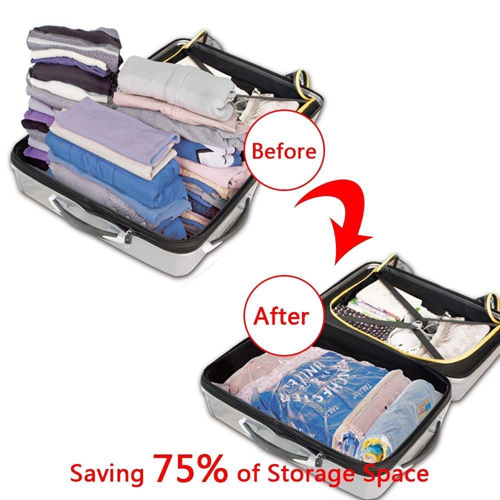 Bouya 5 Pack Premium resistente al agua ahorro de espacio vacío bolsas de almacenamiento doble cremallera sello perfecto para la ropa, ropa de cama, ...