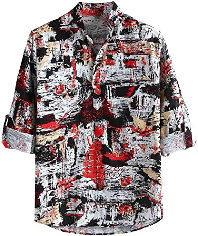 Camisa de Manga Larga Casual Delgada Vintage de impresión ...
