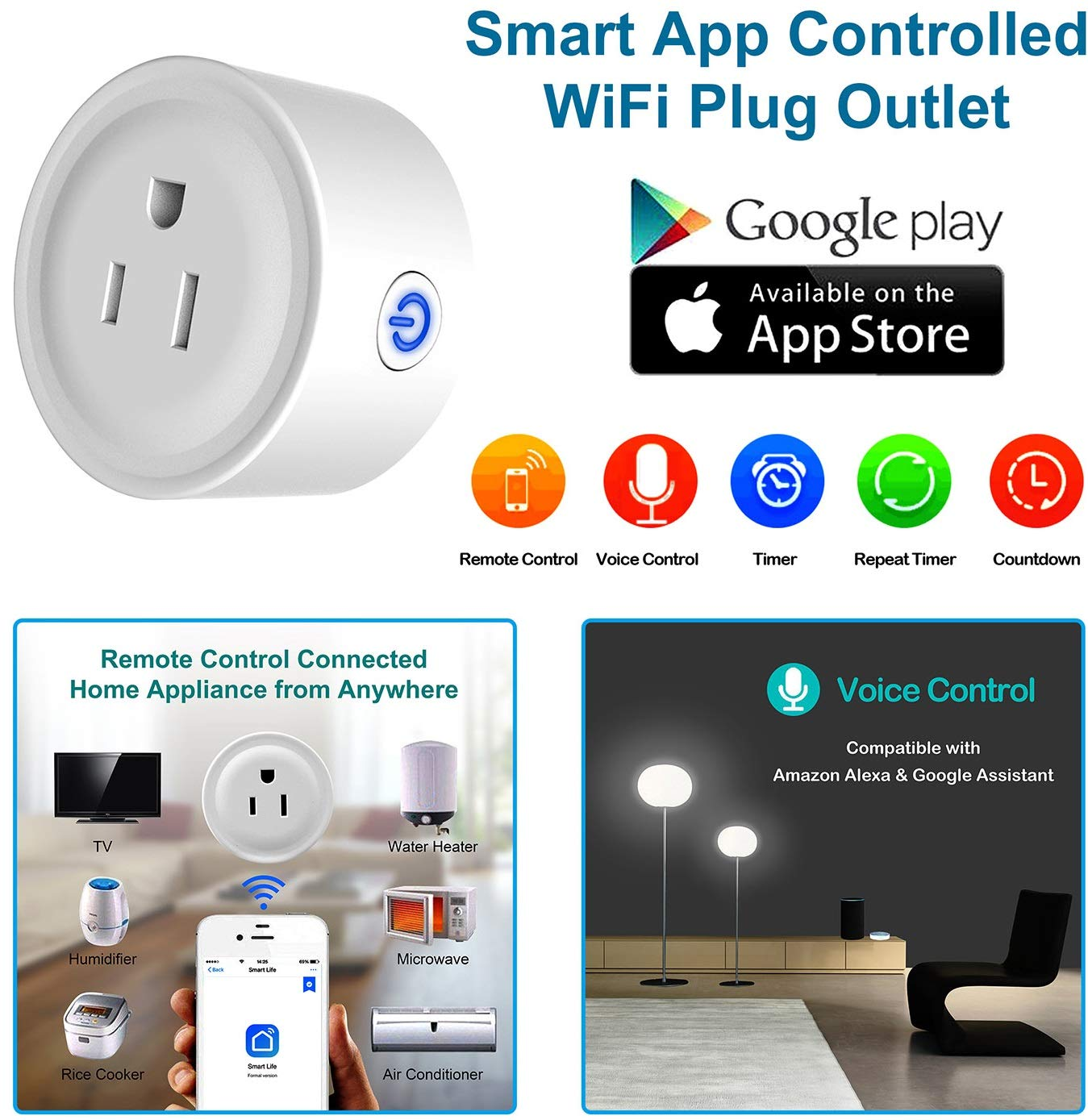 GPCT Smart App Controlled WiFi Plug Outlet. Works W/Alexa/Google Home/IFTTT, Remote Control To Any Connected Home Appliance, No HUB Required, Timer Function, Voice Control Smart Socket- iOS/Android by GPCT