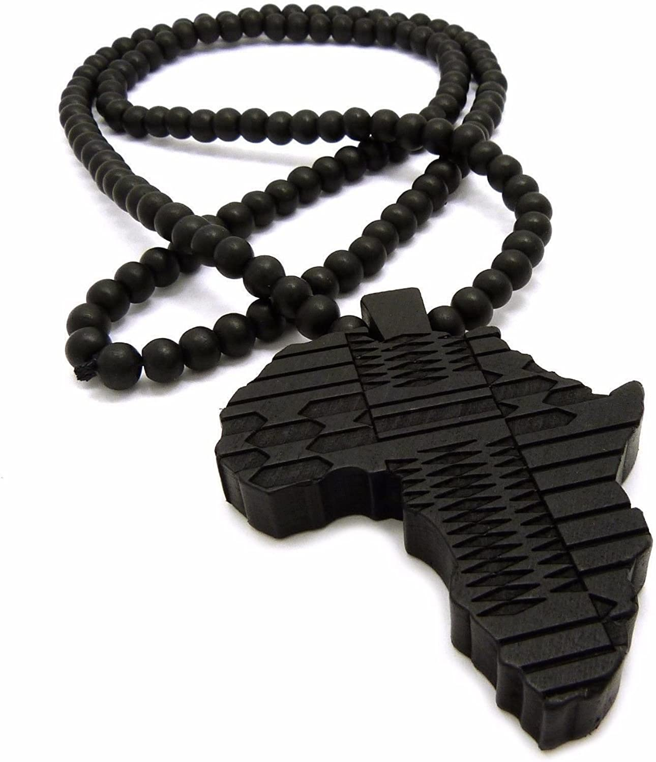 AFRICA MAP FIST WOODEN BEAD CHAIN NECKLACE AFRICAN POWER UNITY