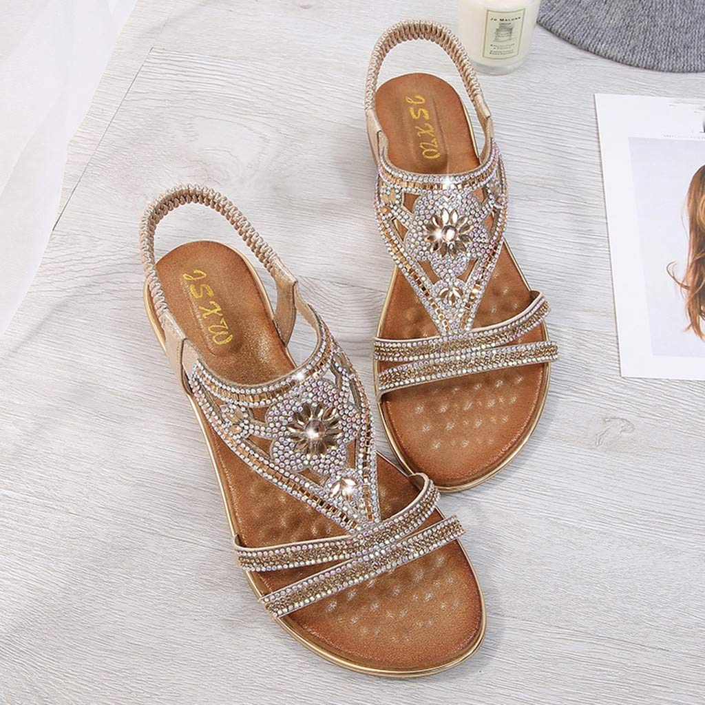 CCOOfhhc Women's Bohemia Sandals Summer Crystal Beach T-Strap Flat Sandals Comfort Walking Shoes Gold by CCOOfhhc (Image #6)
